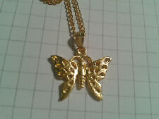 "ENAMEL GOLDEN PLATED ALLOY "" BUTTERFLY"" PENDANT ON 16"" OR 18"" NECKLACE CHAIN"