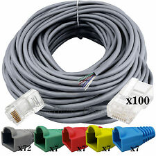80M RJ45 CAT5 Ethernet Router Modem Ethernet LAN PC Cable +100x Connectors Boots