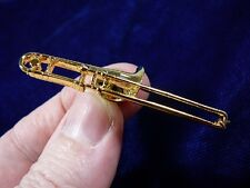 (M-210-A) TROMBONE tac pin JEWELRY 24k gold plate tack brooch Bach slide