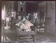 c1900 Victorian Home House Interior Baby in Wicker Chair Glass Photo Negative