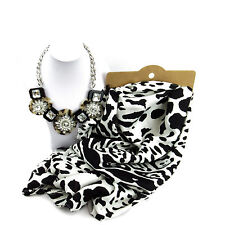 Jewellery Bundle Monochrome Leopard Style Scarf And Necklace Set For Women