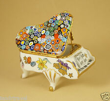EASTER FRENCH LIMOGES BOX GRAND PIANO MURANO MILLEFIORI VENITIAN ART GLASS TOP