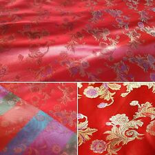 LUXURIOUS red and gold Chinese floral pattern fabric 1m. UK SELLER