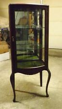 Antique 1900 to 1950 Dark Wood Colonial Curved Glass Cabinet with Key