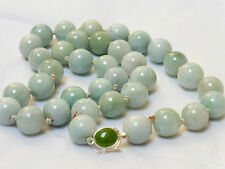 CHINESE UNTREAD GRADE A JADE BEADS NECKLACE, STERLING SILVER CLASP, 151grams