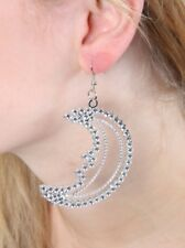 MOON EARRINGS - COSTUME JEWELLERY FANCY DRESS PARTY CHRISTMAS DIAMANTE SPARKLY