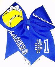 Customized Softball Ball Team Name Hair Bow