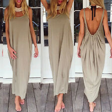 LONG PLUS SIZE BEIGE SLING LOW BACK BACKLESS SUMMER MAXI DRESS  SZ 14-16