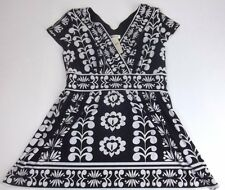 New Coldwater Creek Knit Blouse Top Size 10 Black White Floral Cap Sleeve