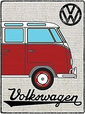 Volkswagen Camper Hessian Red Tin Metal Wall Sign