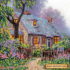 Beadpoint DIY kit Fairy House Seed Beads Needlepoint on Canvas Unique Gift