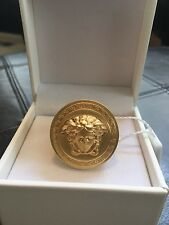 Versace Medusa Ring Gold Plated Sovereign Ring size US 7 IT 15