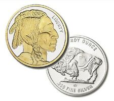 New 1 oz Silver Buffalo Indian Head 24K GOLD Gilded BU Round in Capsule LIMITED~