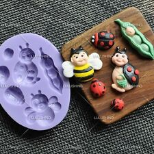 Silicone Mould cup Cake Decoration Embosser Fondant mould bee bean ladybug