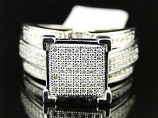 Womens White Gold Finish Micro Pave XL Engagement Fashion Wedding Ring 1/2 CT