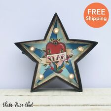 Industrial Vintage LED Star Wall Carnival Light Tattoo Sign Retro Bulb Love Fun