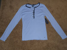 NWT Tommy Hilfiger Womens L/S Shirt-Henley-Color-Lt. French Blue-Size-M.-$59.50