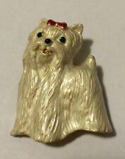 MALTESE OR SHIH TZU PUPPY DOG GOLD TONE BROOCH