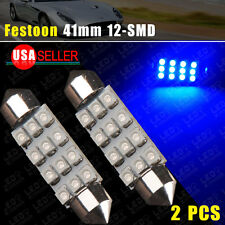 2 x NEW LED 12SMD Courtesy Interior Light Bulb Festoon Dome Lamp 42MM Super Blue