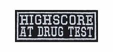 Highscore At Drugtest Biker Heavy Rocker Patch Aufnäher Bügelbild Kutte Badge