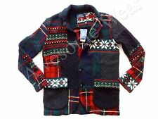 New Ralph Lauren Polo Women's 100% Wool Patchwork Holiday Cardigan Sweater sz S