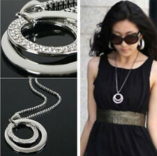Stylish Hipster Circular Crystal Rhinestone Silver Plated Pendant Chain Necklace