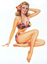 SEXY VINTAGE Blond Nostalgic Fifties PIN-UP Beach GIRL  BIKINI STICKER/DECAL