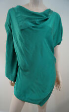 VIVIENNE WESTWOOD ANGLOMANIA Emerald Green Silk Sleeveless Draped Top IT44 UK12