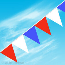 """RED WHITE BLUE PENNANT STRING 100 FEET 48 TRIANGLE FLAGS 12X18"""" NEW MADE IN USA"""