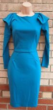 CLOSET TEAL RUFFLE SHOULDER LONG SLEEVE FORMAL PENCIL BODYCON TUBE DRESS 8 S