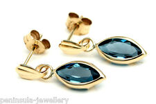 9ct Gold London Blue Topaz Drop Earrings Gift Boxed Made in UK
