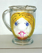 """Latte' Lady"" 16 oz. Hand Painted Glass Mug From Girl Talk By Leslie, U.S.A."