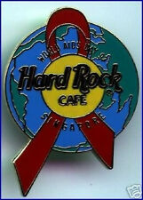 Hard Rock Cafe SINGAPORE 1997 WORLD AIDS DAY Globe PIN Red Awareness Ribbon