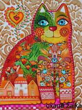 Russian *aquarelle 24x32cm,original/chat,chats,cat,cats,katze,gato,
