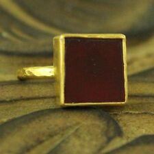 Handmade Hammered Designer Carnelian Ring 24K Gold Over 925K Sterling Silver