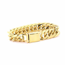 SOLID 14K YELLOW GOLD FINISH THICK MIAMI CUBAN TIGHT LINK BRACELET 18MM JayZ