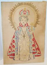 Vtg Infant of Prague Statue Embroidery Picture Linen
