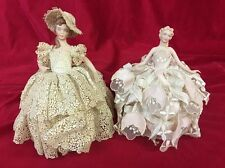 Lot 2 Vintage Porcelain Pin Cushion Half Doll Bisque Sewing