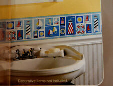 NEW! SAILBOAT WALLPAPER BORDER for kids BATHROOM or BEDROOM HomeTrends 15 ft. L4