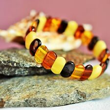 Adult Baltic Amber Bracelet Multicolor. Women amber bracelet. Baltic amber.