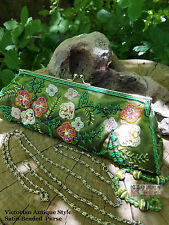 Victorian Antique Style Satin Beaded Wedding Purse Floral Embroidery