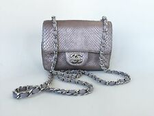 Auth Chanel Iridescent Python Mini/ Small Flap Crossbody Bag SHW $5500