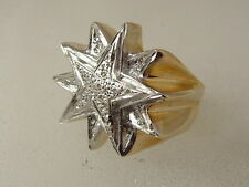 10K MEN'S LARGE DIAMOND RING 10 KARAT GOLD LARGE HIP HOP STAR DIAMOND BLING RING