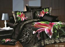 DOUBLE SIZE FLOREALE NERO ROSA LILY 3D Piumone Biancheria Da Letto Set Limited Edition.