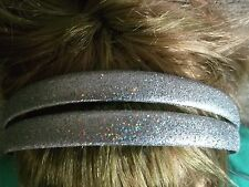 Pack 2 Silver hair alice bands 1.4cm plastic headband hairband glitter band
