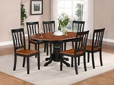 5-PC OVAL DINETTE KITCHEN DINING TABLE w/ 4 WOOD SEAT CHAIRS IN BLACK & CHERRY