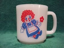 Raggedy Ann & Andy Doll Coffee Tea Mug Cup Milk Glass Vintage Glasbake