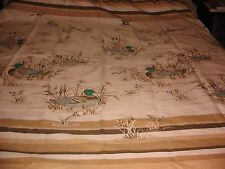 VINTAGE SHOWER CURTAIN MALLARD DUCKS & CATTAILS CABIN DECOR WESTERN NATURAL 70S