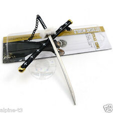 One Piece Katana Roronoa Zoro Sabre Black knife Samurai sword Key ring Keychain
