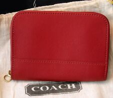 Classic COACH Red Leather Wallet Zippered Change Purse NWT